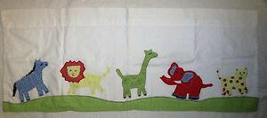 "Pottery Barn Kids Baby Nursery Appliqued Safari Zoo Animals Valance 44""X18"""