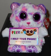 Ty Beanie Peek a Boos SAVANNAH Leopard JUSTICE EXCLUSIVE - Cellphone Holder ~NEW