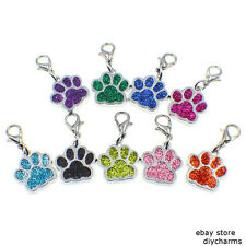 10pcs Glint Dog Paw Print Clip Dangle Hang Charm With Lobster Clasp For Keyring