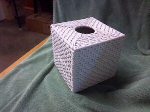 White Wicker Tissue Box Cover      Square / Nice