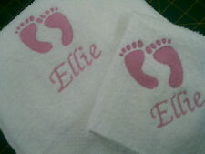 baby feet boy or girl  embroidered with your childs name Towel Set,