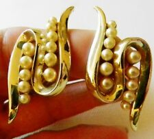 "Charel SIGNED Goldtone Clip Earring-Tapered Rows of Pearls between ""S"" Swirl"