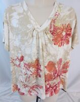 Oleg Cassini Embellished Short Sleeve Floral Top Blouse Shirt  Women's 2X - D204