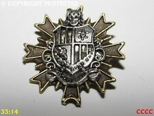 steampunk brooch badge pin silver coat of arms crest regal