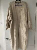 Asos 3/4 Length Oatmeal Beige Balloon Sleeve Cable Knit Cardigan Size 8