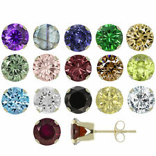 14K Solid Yellow Gold 3mm to 6mm Natural Gemstones Stud Earrings ! Top Quality