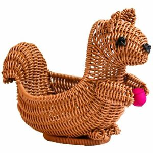 Hand Woven Squirrel Storage Basket Rattan Bread Snack Organizer Tool Accessories
