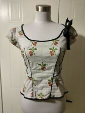FLOREAT Anthropologie Jahoda Corset Top Embroidered Strawberries Smocked Back 4