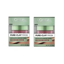 L'Oreal Paris Pure Clay Mask, Exfoliate and Refine Pores, 48g (pack of 2)