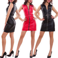 Vestito donna smanicato miniabito ecopelle aderente cerniera sexy nuovo GI-3894