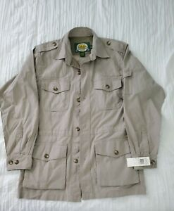 Cabela's 100% Cotton TAN Unstructured Safari Shirt Blazer Jacket Size Medium