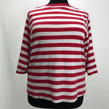 Vicki Wayne Womens Plus Size 1X Top 3/4 Sleeve Red Stripe Lightweight Knit