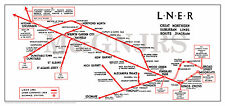 LNER Map of Great Northern Suburban Lines Route Diagram