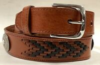 Men's New Belt Leather  Conchos Cowboy Western Rodeo Brown