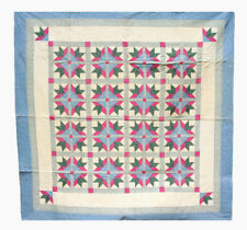 "Vintage Patchwork Quilt, ""Fancy Flowers"", Mid 20th C. 84' X 84"""