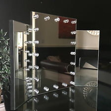 Triple Dressing Table Make up Mirror large tri Fold HOLLYWOOD LED Lights mirror
