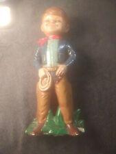 """Vintage Chalkware Cowboy Levi jeans. 12"""" tall. Chaps. Lasso"""