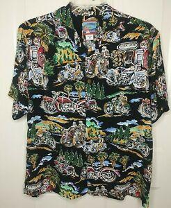Joe Kealohas Mens Medium Black 100% Rayon Hawaiian Shirt Motorcycles Route 66