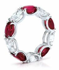 3ct Oval Cut Red Ruby Diamond Eternity Design Wedding Band 14k White Gold Finish