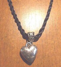 collier corde noir 64 cm avec pendentif coeur love 20x18 mm