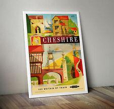 Póster de Viaje Vintage Cheshire Ferrocarril-A4-Gran Calidad-Gran Idea del Regalo