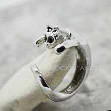 925 Silver Plated & Crystal Cat Ring  / Thumb Ring Fully Adjustable ladies gift