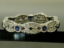 R133 Genuine 9ct White GOLD Natural Sapphire Diamond Full Eternity Ring size N