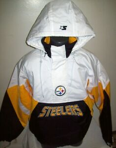 PITTSBUGH STEELERS Limited Ed NFL Starter Hooded Half Zip Pullover Jacket WHITE