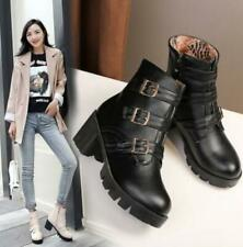 Womens Med Chunky Heels Buckle Strap Round Toe Ankle Riding Boots Shoes NEW C52