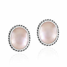 Elegant Pink Mother of Pearl Ovals with Sterling Silver Border Stud Earrings