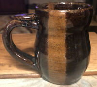 Coffee Mug Cup Art Pottery Blue Brown Drip Glaze Handmade Embossed Signed 16 oz