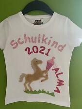 Einschulungsshirt/SchulkindShirt Applikation *Pferd* Schultüte Name AbGr.128 NEU