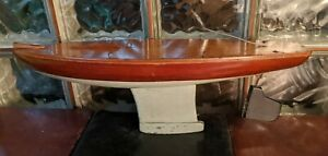 "ANTIQUE early 1900s Hollow Wood Pond Yacht Boat Hull Sailboat 21"" Metal keel"