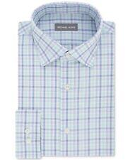 $145 MICHAEL KORS Men's REGULAR-FIT BLUE WHITE CHECK BUTTON DRESS SHIRT 15 32/33