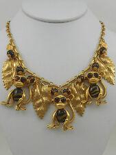 VINTAGE GOLD WHIMSICAL MONKEY NECKLACE COSTUME DESIGNER ASKEW LONDON JEWELRY