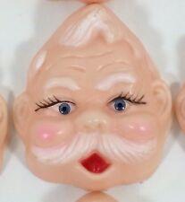 "10 Hard Plastic Vtg 4"" Santa Doll Head Face Christmas Country Craft Blue Eye Lot"