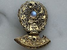 Antique 1800s Victorian Gilt Brass Brooch with Man Face and Moonstone