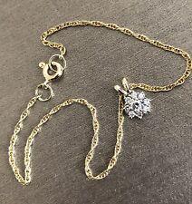 "9ct Yellow Gold Diamond Daisy Charm Bracelet 0.20ct Hallmarked 7"""