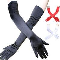 Elasticizzato in raso guanti da polso gomito opera extra lungo da sera festa Td