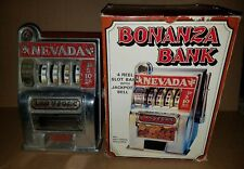 Novelty Nevada Bonanza Bank 4 Wheel Slot Machine in Box!