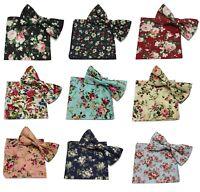 Men Floral Cotton Pocket Square Handkerchief + bow tie Set UK Wedding