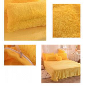 Fluffy Shaggy Velvet Duvet Quilt Cover Pillow Shams Bed Sheet 4Pcs Bedding Set