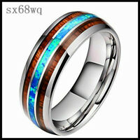 Men 8mm Ceramic tungsten steel dragon Wood and Abalone titanium steel Rings