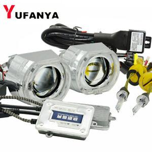 2.5'' Bi xenon HID Projector Lens Square LED Angel Eyes Headlight Retrofit DRL