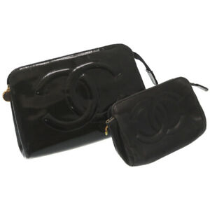 2item set CHANEL Pouch Patent leather / Leather Black color U2703PP4