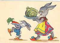 1957 VERY RARE Mother Hare with Child carrot cabbage Russian Soviet postcard