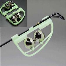 2XNight Fishing Bite Luminous Light Twin Bells Rings Clip On Rod Alarm