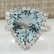 New Fashion Women 925 Silver Heart Aquamarine White Topaz Rings Wedding Jewelry