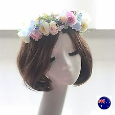 Women Wedding Blue Pink Flower Prom Party Hair headpiece hair headband Garland