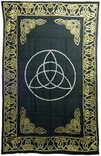 Golden Triquetra Bedspread: Tapestry, Wall Hanging, Altar Cloth 72 x 108